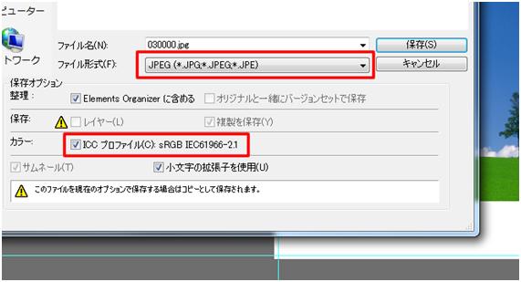 カラーのICC プロファイルにチェックを入れてください。